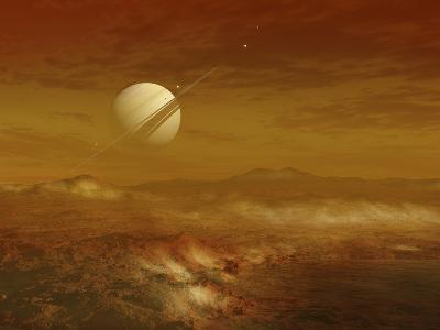 Saturn Above the Thick Atmosphere of its Moon Titan-Stocktrek Images-Photographic Print