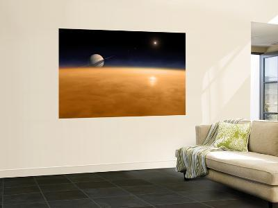 Saturn Above the Thick Atmosphere of its Moon Titan-Stocktrek Images-Wall Mural
