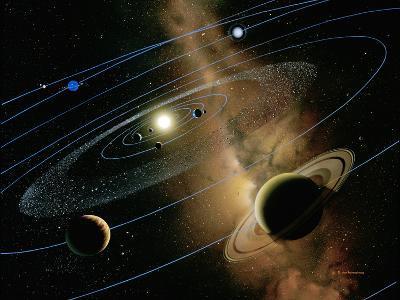 Saturn And Solar System-Detlev Van Ravenswaay-Photographic Print
