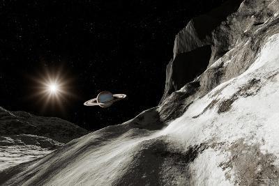 Saturn From Iapetus-Detlev Van Ravenswaay-Photographic Print