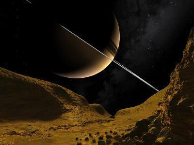 Saturn's Moon Enceladus, Artwork-Walter Myers-Photographic Print