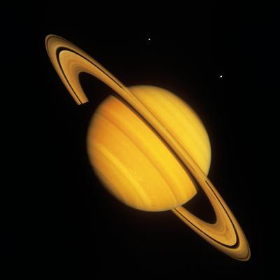Saturn with Two Moon--Photographic Print