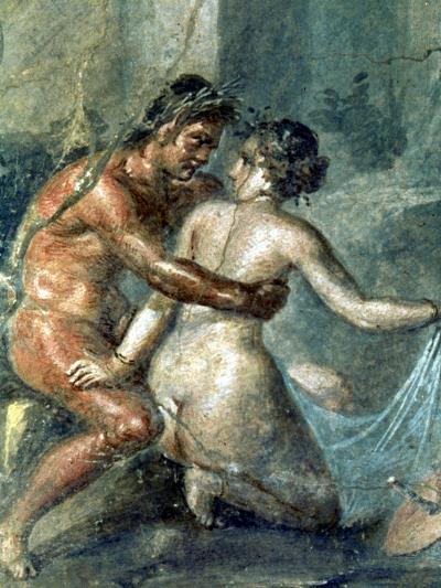 Satyr and Maenad, Detail from a Wall Painting in Pompeii, 1st Century BC--Giclee Print