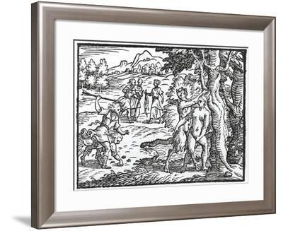 Satyr Trying to Rape Silvia, Act Iii from Aminta by Torquato Tasso, Aldina Edition, 1573--Framed Giclee Print