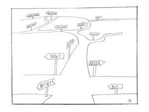 A road with many options that refer to time. - New Yorker Cartoon by Saul Steinberg