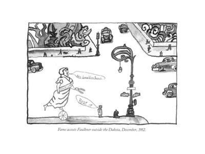 Fame accosts Faulkner outside the Dakota, December, 1952. - New Yorker Cartoon