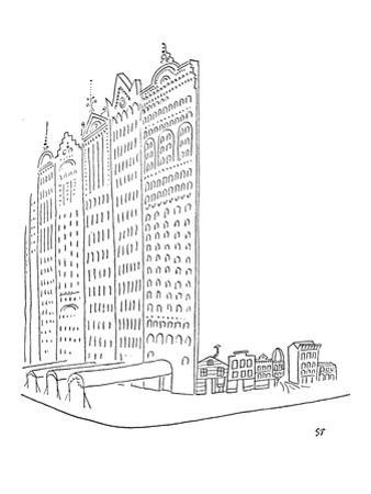 Large impressive facades stand in front of smaller homes. - New Yorker Cartoon