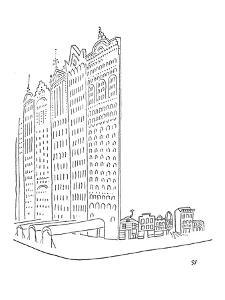 Large impressive facades stand in front of smaller homes. - New Yorker Cartoon by Saul Steinberg