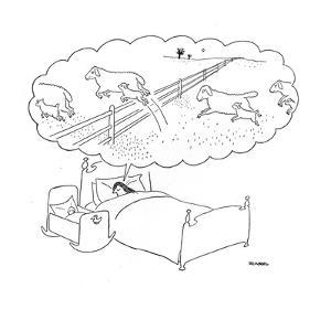 Mother sleeps with her baby and dreams of sheep jumping over fences with t? - New Yorker Cartoon by Saul Steinberg