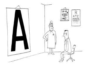 Patient reading giant eye chart in doctors office. - New Yorker Cartoon by Saul Steinberg