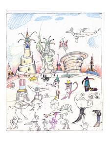 Steinbergian landscape populated with monuments, statues, and walking crea? - New Yorker Cartoon by Saul Steinberg