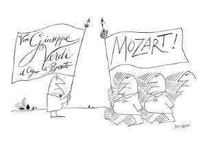 """Viva Giuseppe Verdi il Cigno di Busseto"" - New Yorker Cartoon by Saul Steinberg"