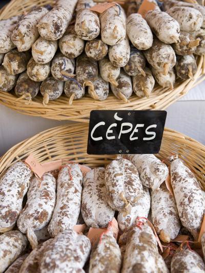 Sausages at Market Day, Sarlat, Dordogne, France-Doug Pearson-Photographic Print