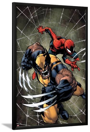 Savage Wolverine #6 Cover: Spider-Man, Wolverine-Joe Madureira-Lamina Framed Poster