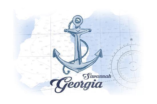 Savannah, Georgia - Anchor - Blue - Coastal Icon-Lantern Press-Art Print
