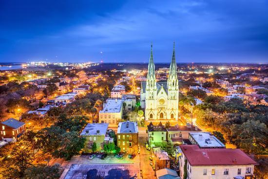 Savannah, Georgia Downtown Skyline at the Cathedral.-SeanPavonePhoto-Photographic Print