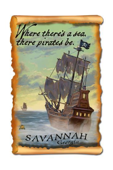 Savannah, Georgia - Pirate Ship-Lantern Press-Art Print