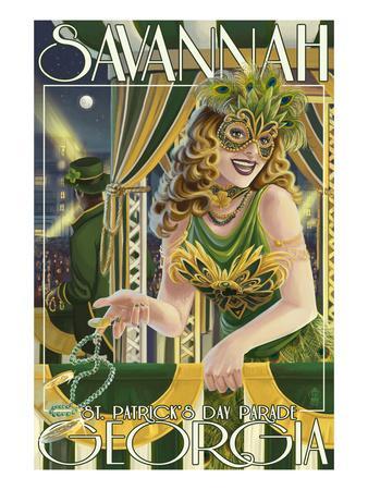 Savannah, Georgia - St. Patricks Day Parade-Lantern Press-Art Print
