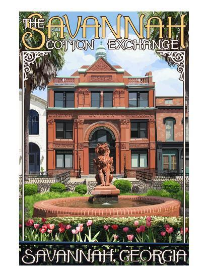 Savannah, Georgia - The Cotton Exchange-Lantern Press-Art Print