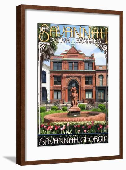 Savannah, Georgia - The Cotton Exchange-Lantern Press-Framed Art Print
