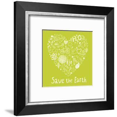Save the Earth. Concept Ecology Wallpaper Made of Environment Symbols in Vector-smilewithjul-Framed Art Print