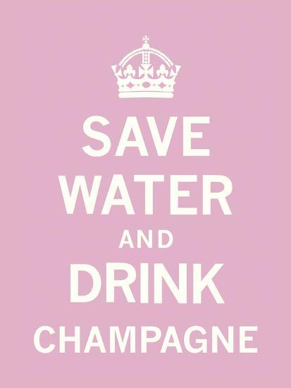Save Water and Drink Champagne-The Vintage Collection-Art Print