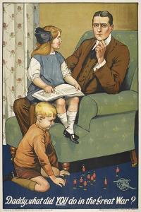Daddy, What Did YOU Do in the Great War ?' a Patriotic Poster Depicting a Father and Is Family by Savile Lumley