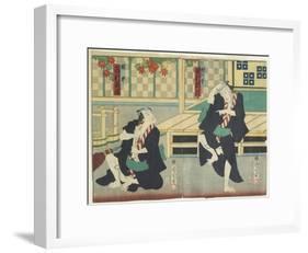Sawamura Tossho II as Kinohei and Ichimura Kakitsu I as Kippei, May 1865-Toyohara Kunichika-Framed Giclee Print