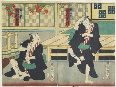 Sawamura Tossho II as Kinohei and Ichimura Kakitsu I as Kippei, May 1865-Toyohara Kunichika-Giclee Print