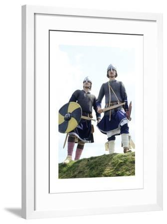 Saxon Period Warriors, 9th Century, Historical Re-Enactment--Framed Giclee Print