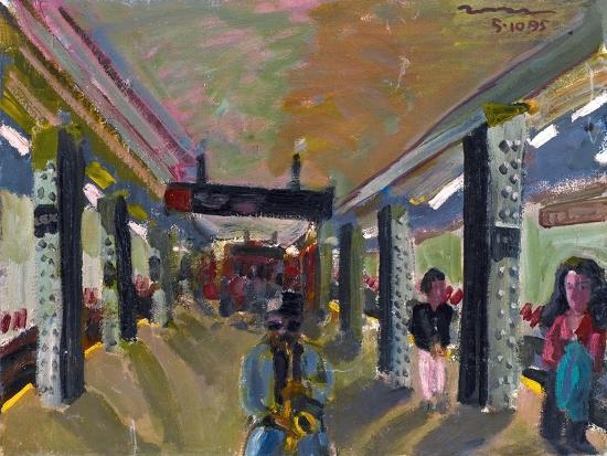 Saxophone in the Subway-Zhang Yong Xu-Giclee Print