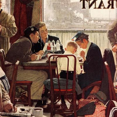 """Saying Grace"", November 24,1951-Norman Rockwell-Giclee Print"