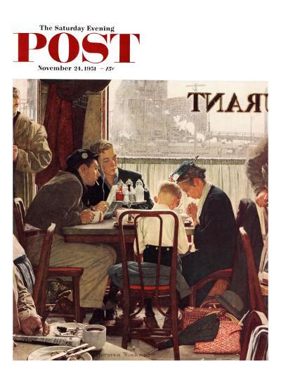 """Saying Grace"" Saturday Evening Post Cover, November 24,1951-Norman Rockwell-Giclee Print"