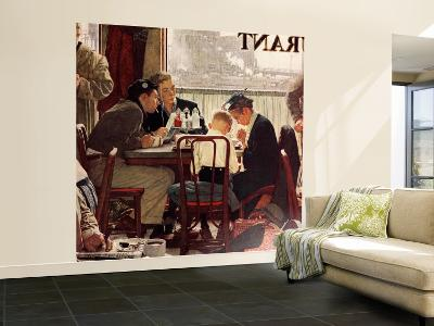 """""""Saying Grace"""" Saturday Evening Post Cover, November 24,1951-Norman Rockwell-Wall Mural – Large"""