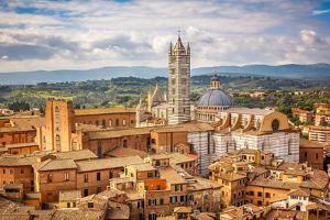 Aerial View over Siena: Siena Cathedral by sborisov