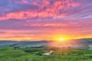 Beautiful Tuscany Landscape at Sunrise, Italy by sborisov