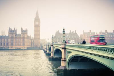 Big Ben and Westminster Bridge at Foogy Morning in London by sborisov