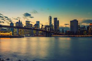 Brooklyn Bridge and Manhattan after Sunset, New York City by sborisov