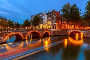 Canals in Amsterdam at Night by sborisov