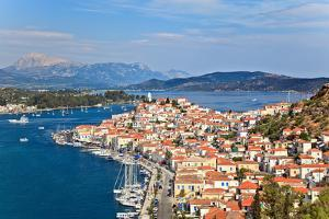 Greek Island Poros at Sunny Day by sborisov