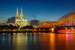View on Cologne Cathedral and Hohenzollern Bridge, Germany by sborisov