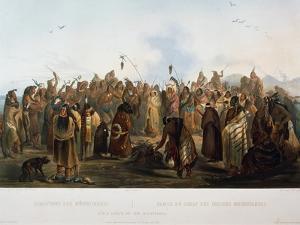 Scalp Dance of Hidatsa Indians, Engraving by Karl Bodmer