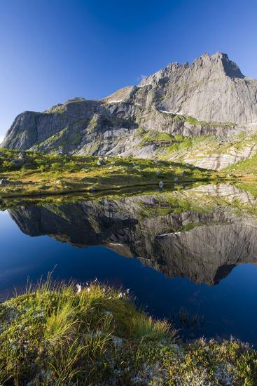 Scandinavia, Norway, Lofoten, Flakstadoey, Stjerntinden, Steep-Coast, Rocks, Water, Landscape-Rainer Mirau-Photographic Print