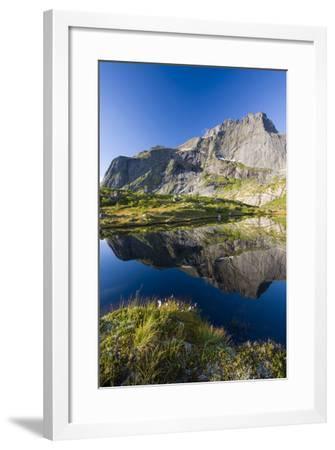 Scandinavia, Norway, Lofoten, Flakstadoey, Stjerntinden, Steep-Coast, Rocks, Water, Landscape-Rainer Mirau-Framed Photographic Print