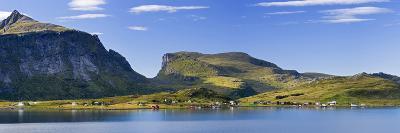 Scandinavia, Norway, Lofoten, Moskenesoey, Krystad, Fisher-Village, Mountain-Landscape, Panorama-Rainer Mirau-Photographic Print