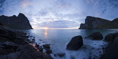Scandinavia, Norway, Lofoten, Moskenesoey, Kvalvika, Sea-Bay, Sunset, Cloudy-Mood-Rainer Mirau-Photographic Print