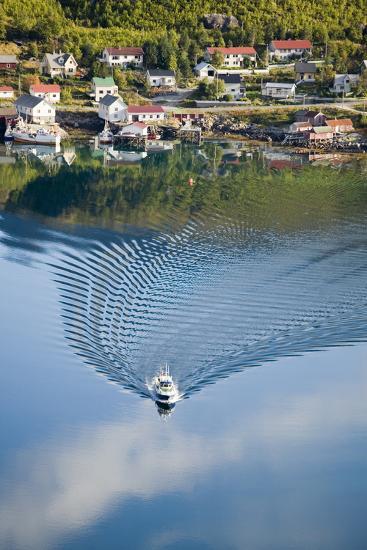 Scandinavia, Norway, Lofoten, Moskenesoey, Pure, Fisher-Place, Lake, Boat, Drives-Rainer Mirau-Photographic Print