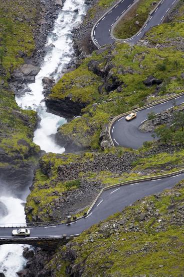 Scandinavia, Norway, Troll-Steep Track, Mountain-Passport, Serpentine, River Bed-Rainer Mirau-Photographic Print