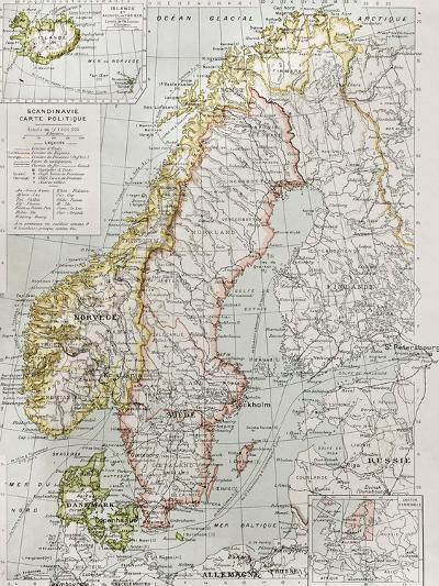 Scandinavia Political Map With Iceland Insert Map-marzolino-Art Print