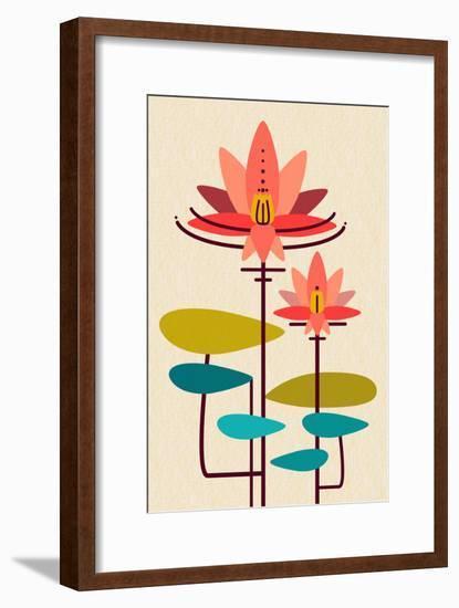 Scandinavian Lotus (White)-null-Framed Art Print